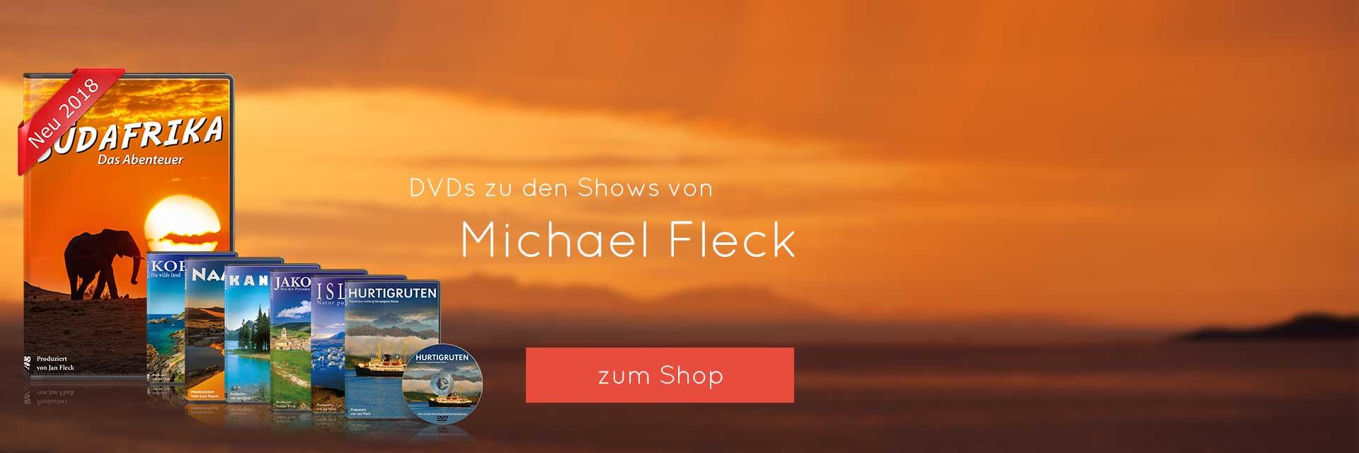 DVDs zu den Shows von Michael Fleck -  Bild von Sonnenuntergang bei den Hurtigruten