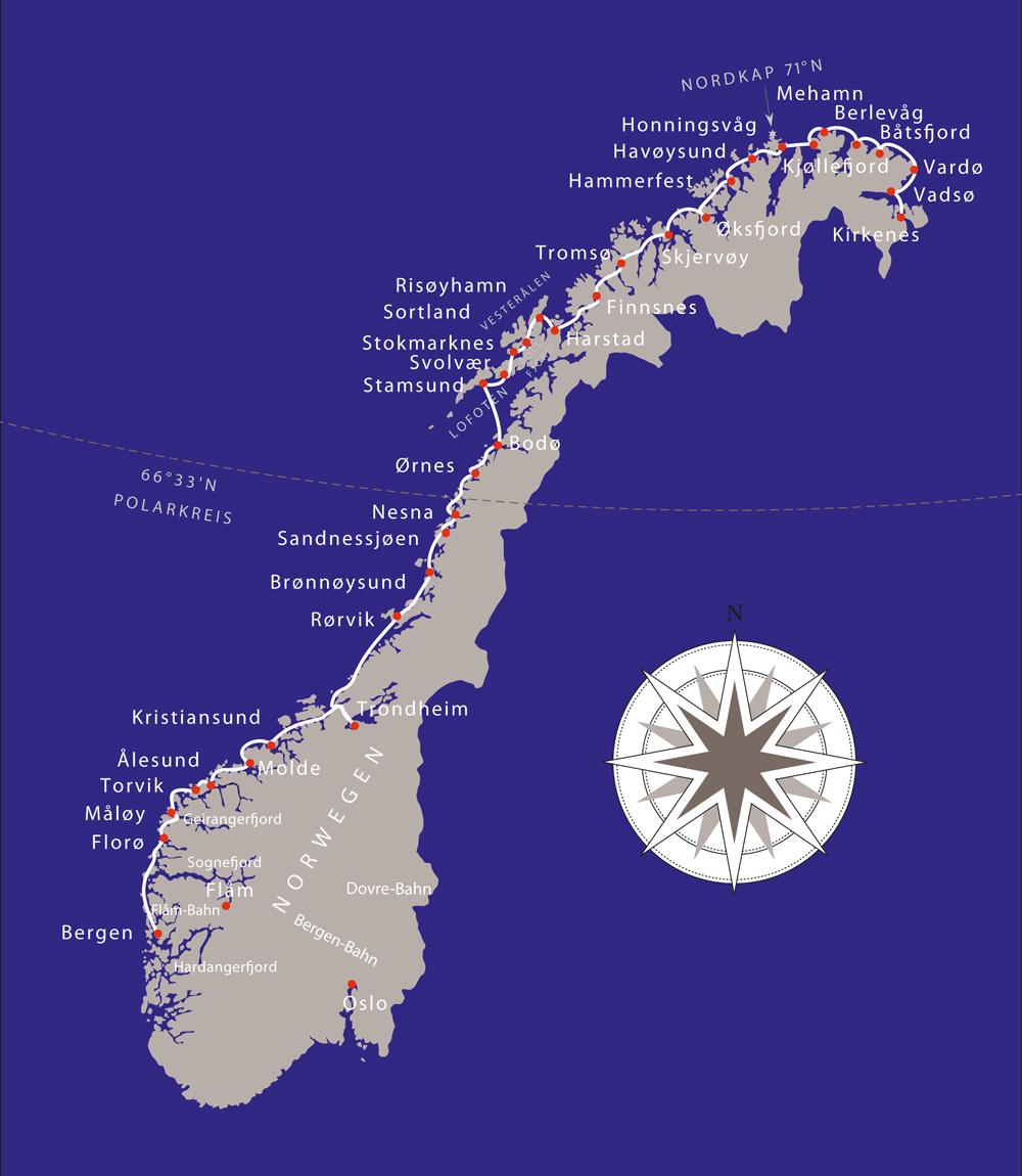 Karte Norwegen Hurtigruten.Hurtigruten Show Vortrag Michael Fleck